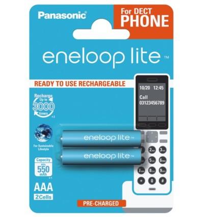 Аккумуляторы 2 x Panasonic Eneloop Lite R03 AAA 550mAh BK-4LCCE/2BE DECT