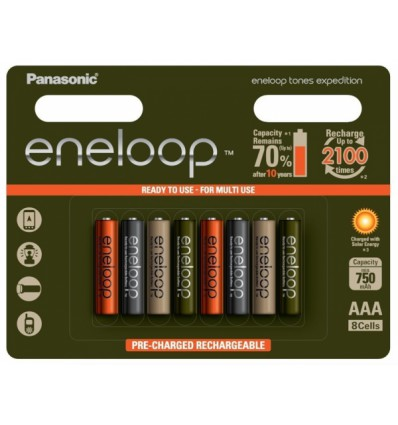 Аккумуляторы 8 X Panasonic Eneloop Tones Expedition R03/AAA 800mAh