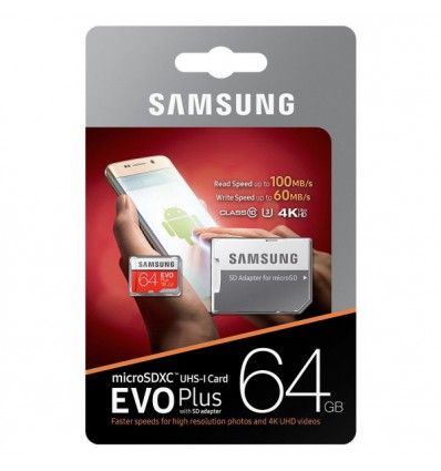 Карта памяти MicroSDHC Samsung EVO PLUS MicroSDXC 64GB UHS-I U3 Class 10 60/100MB/S + Adapter