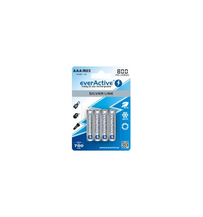 Аккумуляторы 4x EverActive R3/AAA Ni-MH 800 MAh Ready To Use