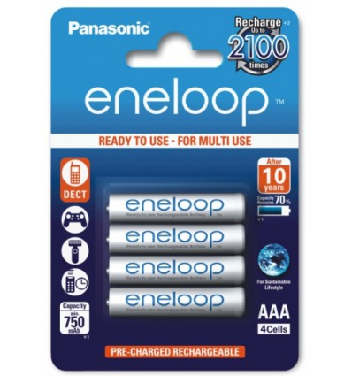 Аккумуляторы 4 X Panasonic Eneloop R03 AAA 800mAh BK-4MCCE/4BE