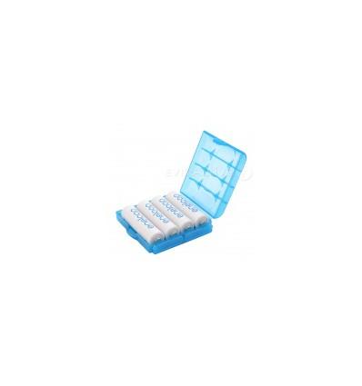 Пластиковая коробка для 4-х аккумуляторов R6/AA или R3/AAA голубая