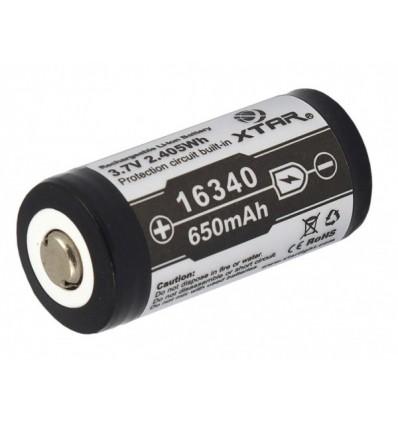 Аккумулятор Xtar 16340 / R-CR123 3,7V Li-Ion 650mAh с платой защиты