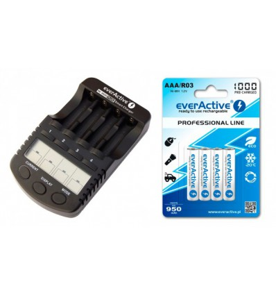 Зарядное устройство EverActive NC-1000 PLUS + 4 X R03/AAA EverActive 1000